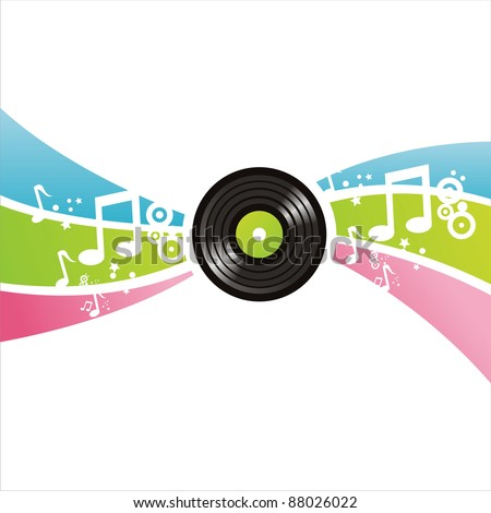 colorful musical vinyl record background - stock vector