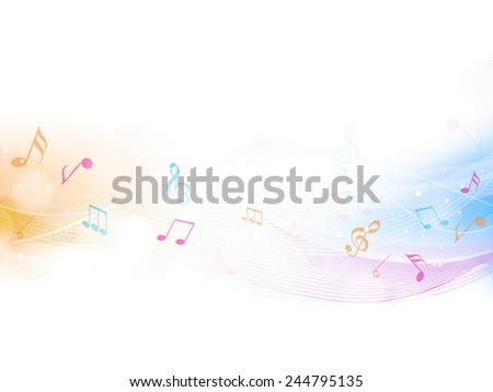Colorful musical waves with musical notes over beige color background. - stock vector