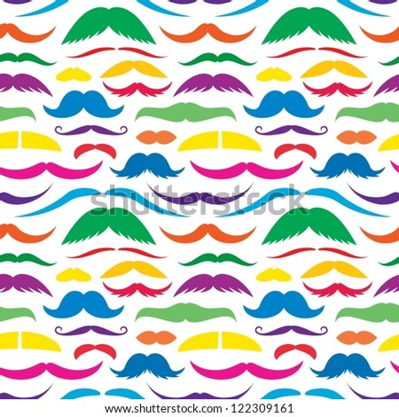 Colorful Mustache Seamless Wallpapers