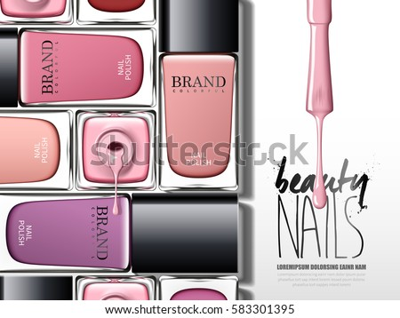 colorful nail lacquer ad, with many glass bottle elements, 3d illustration