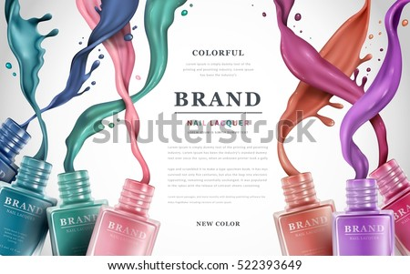 Colorful nail lacquer ads, nail polish splatter on white background, 3d illustration, vogue ads for design