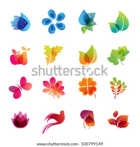 Colorful nature icon set - stock vector