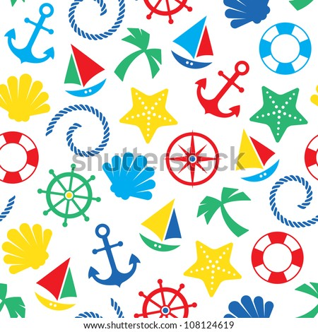 Colorful nautical seamless pattern background - stock vector