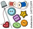colorful needle & buttons - stock vector