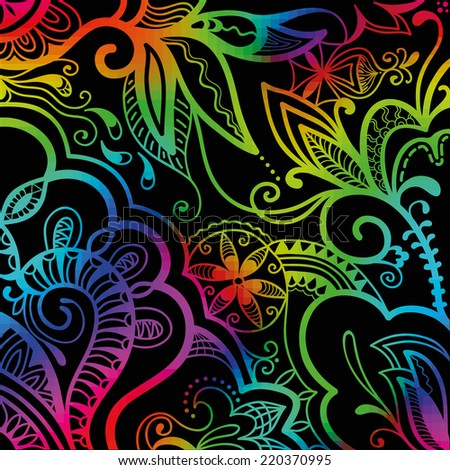 Colorful neon shiny abstract vector background, floral ornament, asymmetric sketch pattern, vector illustration - stock vector