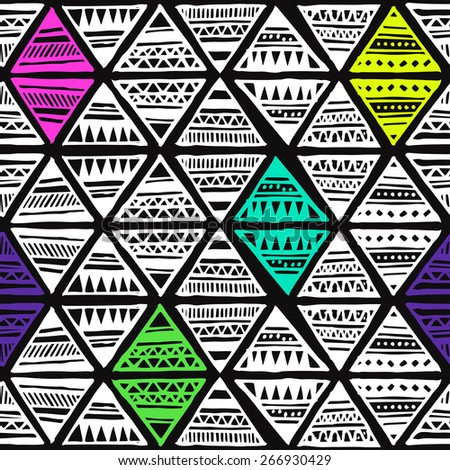 colorful neon tribal Navajo pattern with triangles. fresh summer aztec geometric print. ethnic hipster backdrop. hand drawn  - stock vector