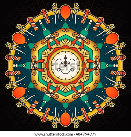 Colorful New Year Holiday Mandala Illustration. Contain: clock, champagne, firework, star, bow, balloon.