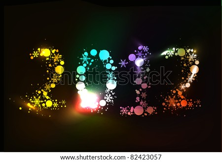 Colorful new year 2012 in black background. - stock vector