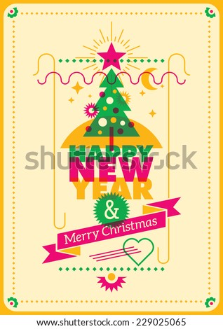 Colorful New Year poster. Vector illustration. - stock vector