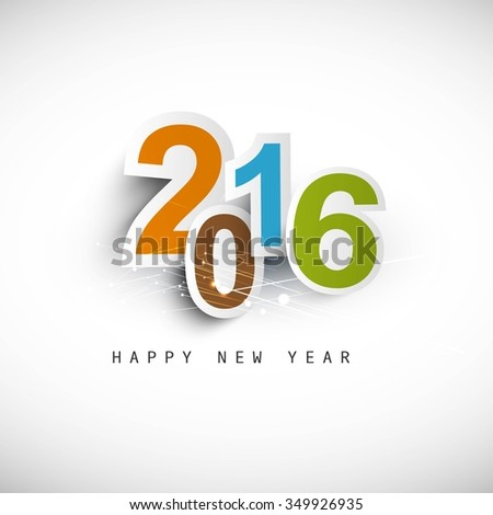 Colorful new year 2016 text  - stock vector