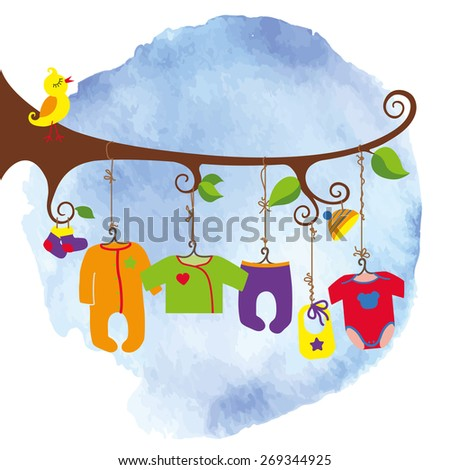 Colorful newborn baby clothes hanging on rope in the tree branches. Baby fashion for girls,boys , unisex.Poster,template.Funny vector Illustration.Watercolor stein background - stock vector