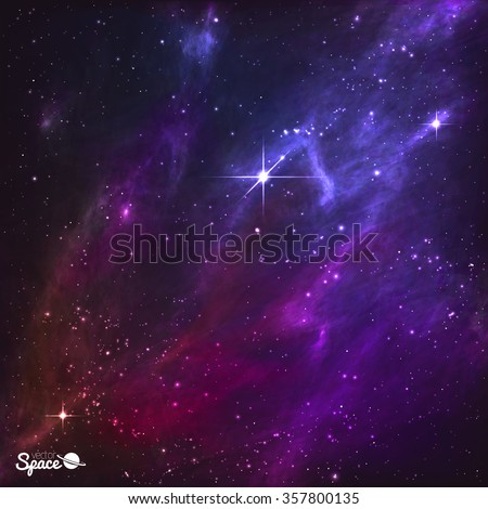 Colorful Night Skies with pole star and purple nebula. Vector Illustration. - stock vector
