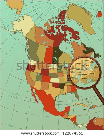 Colorful North America Map with Loop on New York. Cartography collection. Vector illustration. - stock vector