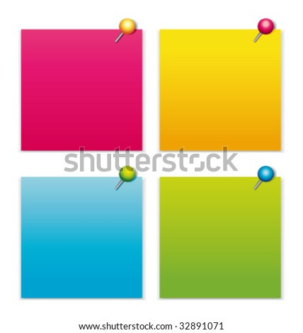 Colorful notepapers with pushpins vector collection - stock vector