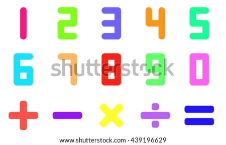 Colorful number and math symbol on white background - stock vector