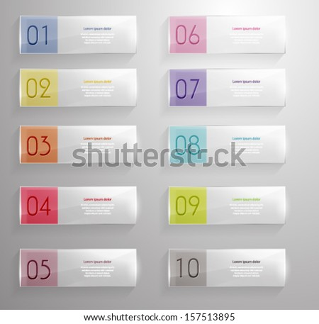 Colorful Numbered banners. 3d glass design. Vector eps10. - stock vector