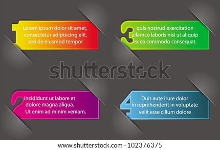 colorful numbered stickers in album page with place for text - stock vector