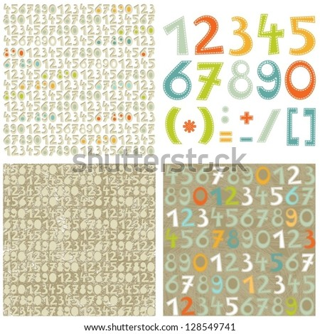 colorful numbers education set and number seamless pattern on light and dark scrapbook background set - stock vector