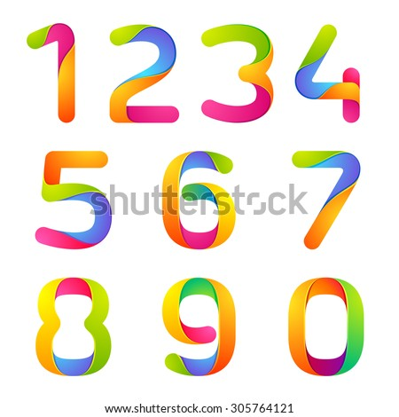 Numbers set logos colorful watercolor splash stock vector for Blueprint number