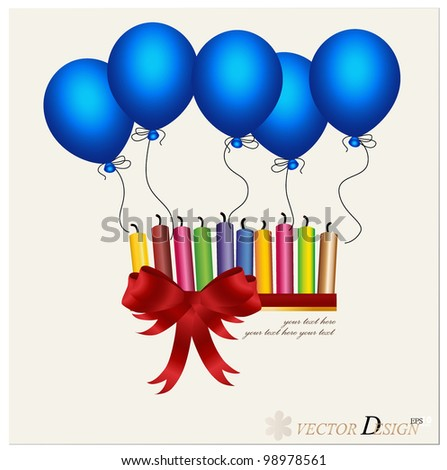 Colorful of candle and blue ballon. Vector illustration. - stock vector