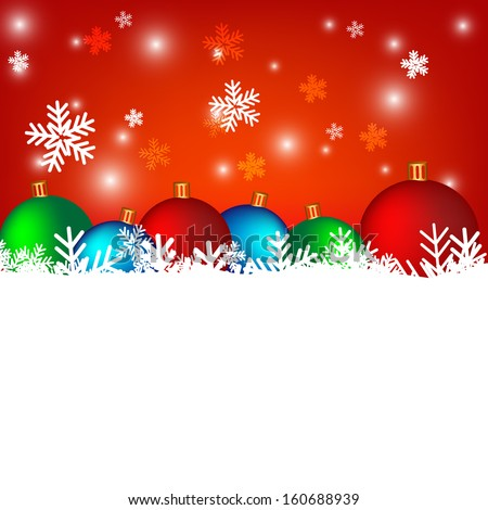 Colorful of christmas balls on red background