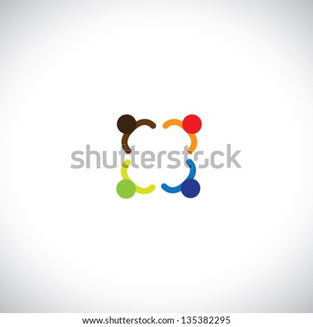 Colorful office people meeting discussion,school children playing. The illustration represents people interacting, employees meeting, kids playing at school, etc - stock vector