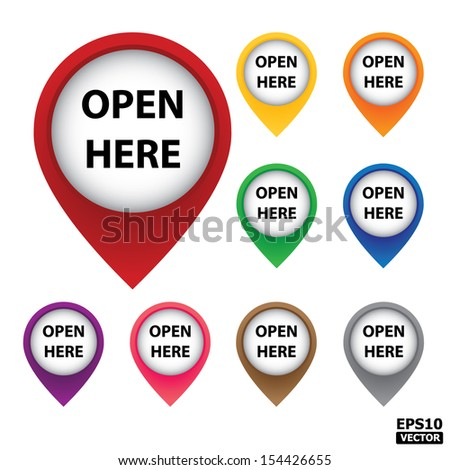 Colorful Open here tag on white background.-eps10 vector