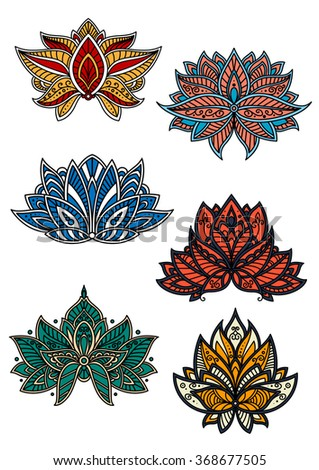 Colorful oriental flowers decorated by motifs of paisley ornament with wavy lines and openwork curlicues. Textile, lace embellishment or carpet floral pattern design usage - stock vector