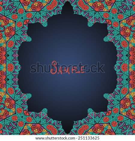 Colorful oriental style frame (Persian, Arabian, Gypsy or Indian). - stock vector