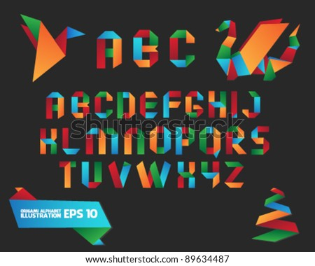 Colorful Origami Alphabet with Objects - stock vector
