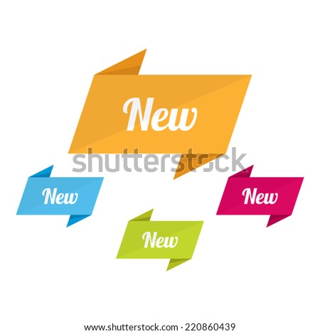 Colorful Origami New Labels - stock vector