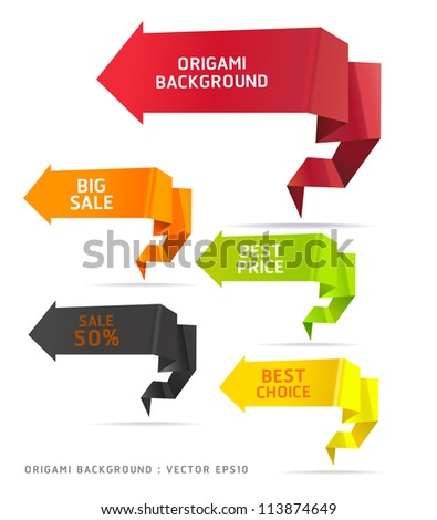 Colorful Origami Style Options Banner & Card. Vector illustration - stock vector