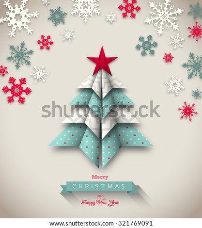 colorful origami tree on beige background, abstract christmas theme, vector illustration, eps 10 with transparency and gradient meshes - stock vector