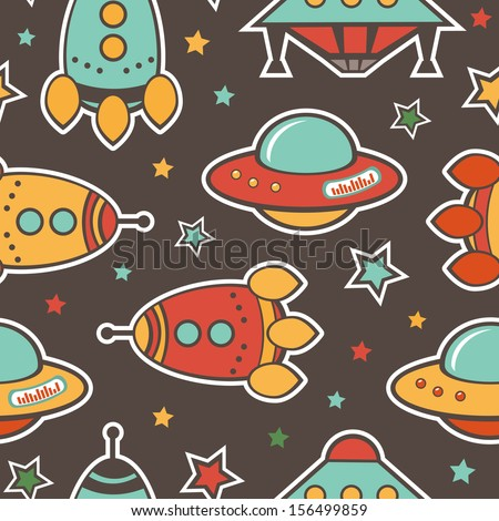 Colorful outer space seamless pattern - stock vector