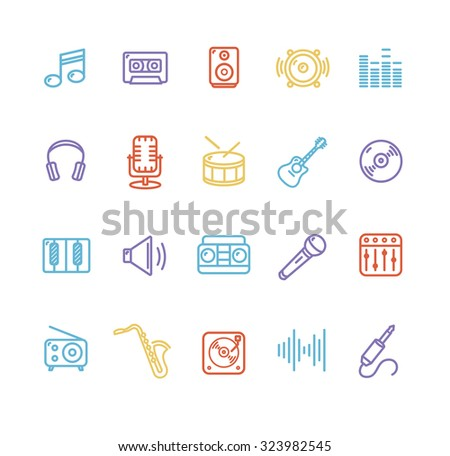 Colorful Outline Music Icons Set. Vector illustration - stock vector