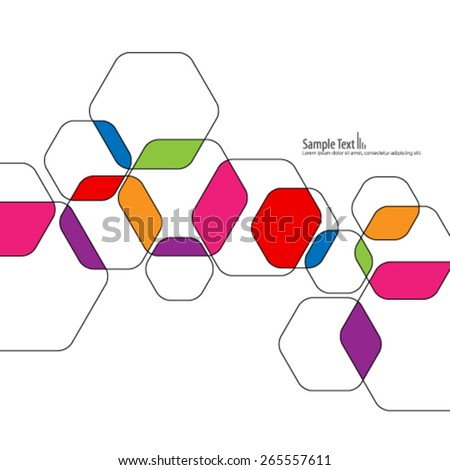 Colorful Overlapping Hexagon Design Background - stock vector