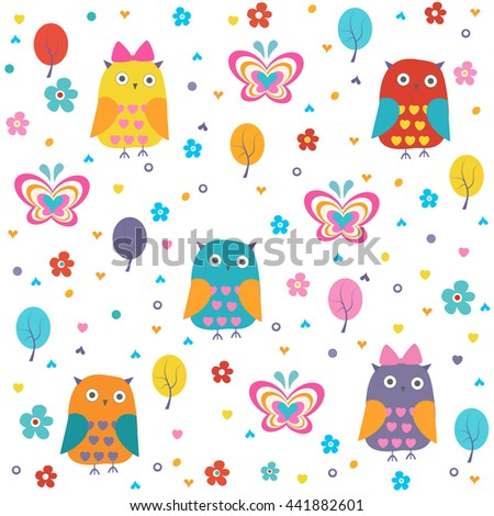 Colorful owl, butterflies and flowers vector pattern
