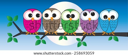 colorful owls sitting on a branch - stock vector