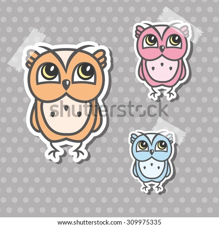 Colorful owls stickers - stock vector