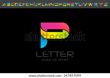 Colorful P letter Logo design alphabet collection - stock vector