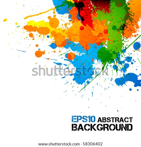 Colorful Paint | Ink Splashes | Drops | Vector Grunge Background - stock vector