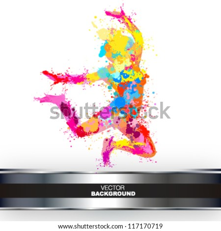 colorful paint splash girl jumping - stock vector