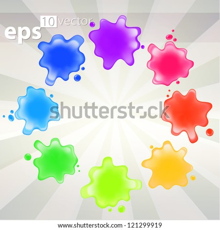 Colorful paint splash palette illustration, eps10 vector - stock vector