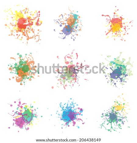 Colorful paint splashes on white. plus EPS10 vector file