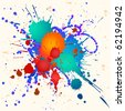 Colorful paint splats vector background - stock vector