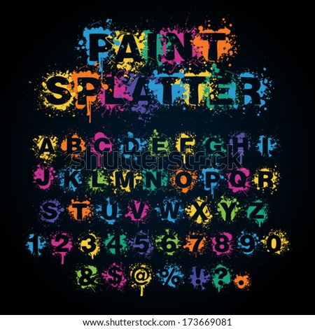 Colorful paint splatter alphabet set - stock vector