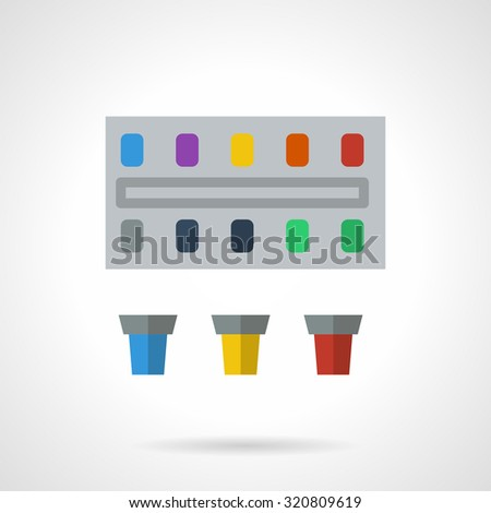 Colorful paints set. Flat style vector icon. Art supplies for design, drawing, painting, paints for school. Elements for web design and business - stock vector