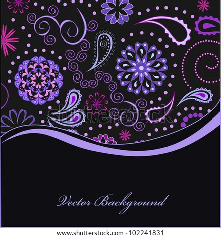 colorful paisley background, vector - stock vector