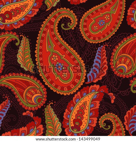 Colorful paisley-style vector seamless pattern. - stock vector