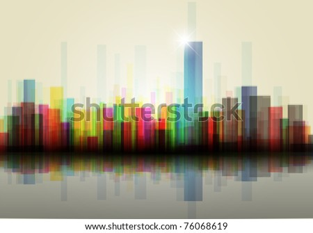Colorful panorama city vector - stock vector